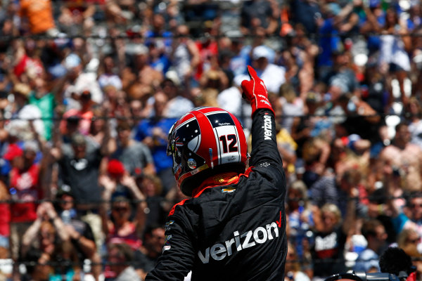 Verizon IndyCar Series Indianapolis 500 Carb Day Indianapolis Motor Speedway, Indianapolis, IN USA Friday 26 May 2017 Will Power, Team Penske Chevrolet celebrates winning the Pit Stop Competition World Copyright: Phillip Abbott LAT Images ref: Digital Image abbott_indy_0517_26891