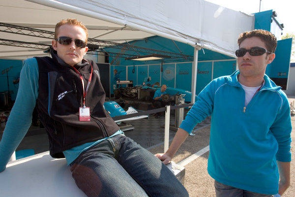 2005 GP2 Series - ImolaAutodromo Enzo e Dino Ferrari, Italy. 21st - 24th April.Thursday Preview.Teammates Olivier Pla (F, DPR) and Ryan Sharp (GB, DPR) relax in the paddock. Portrait. Photo: GP2 Series Media Serviceref: Digital Image Only.