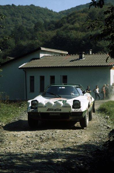 1975 World Rally Championship.Sanremo Rally, Italy. 1-4 October 1975.Bjorn Waldegaard/Hans Thorszelius (Lancia Stratos), 1st position.World Copyright: LAT PhotographicRef: 35mm transparency 75RALLY11