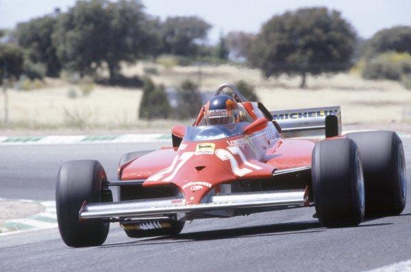 1981 Spanish Grand Prix.Jarama, Spain. 19-21 June 1981.Gilles Villeneuve (Ferrari 126CK), 1st position.World Copyright: LAT PhotographicRef: 35mm transparency 81ESP18