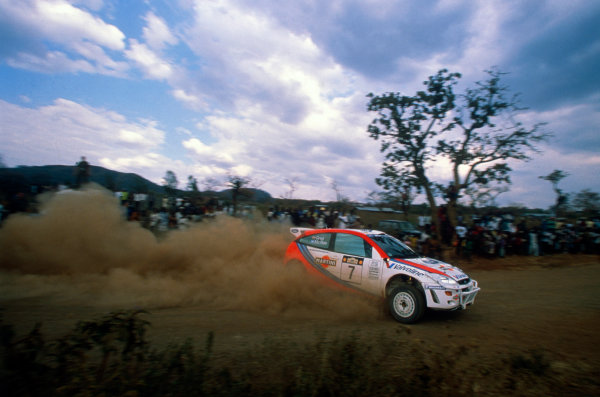 Round 3, Safari Rally, Nairobi, Kenya.25th - 87th February 1999.Colin McRae/Nicky Grist (Ford Focus WRC), 1st position, action.Photo: McKlein/LAT Photographic.