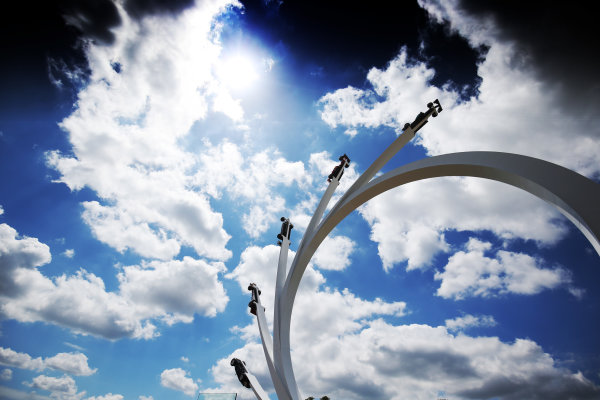 2017 Goodwood Festival of Speed. Goodwood Estate, West Sussex, England. 30th June - 2nd July 2017. Bernie Ecclestone - Centre Sculpture  World Copyright : JEP/LAT Images