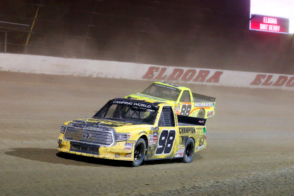 NASCAR Camping World Truck Series Eldora Dirt Derby Eldora Speedway, Rossburg, OH USA Wednesday 19 July 2017 Grant Enfinger, Champion Power Equipment\ Curb Records Toyota Tundra and Matt Crafton, Ideal Door / Menards Toyota Tundra World Copyright: Russell LaBounty LAT Images