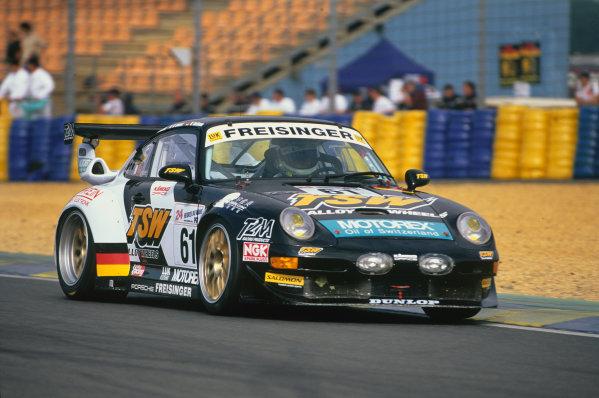 Le Mans, France. 12th - 13th June 1999.Wolfgang Kaufmann/Michel Ligonnet/Ernst Palmberger (Porsche 911 GT2), retired, action. World Copyright: LAT Photographic.Ref:  99LM21.