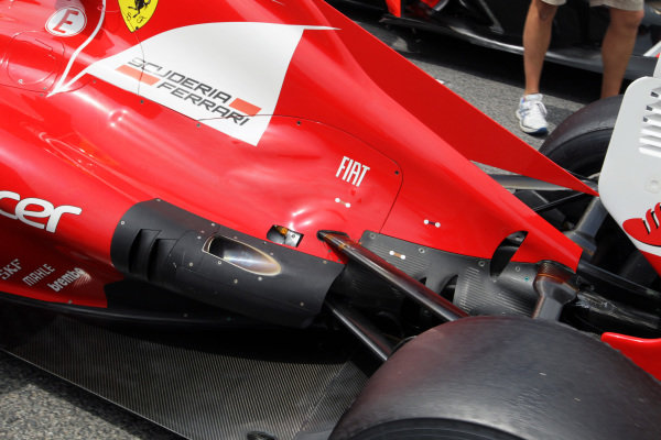 Ferrari F2012 exhaust outlet detail on the grid. Formula One World Championship, Rd5, Spanish Grand Prix, Race Day, Barcelona, Spain, Sunday 13 May 2012.