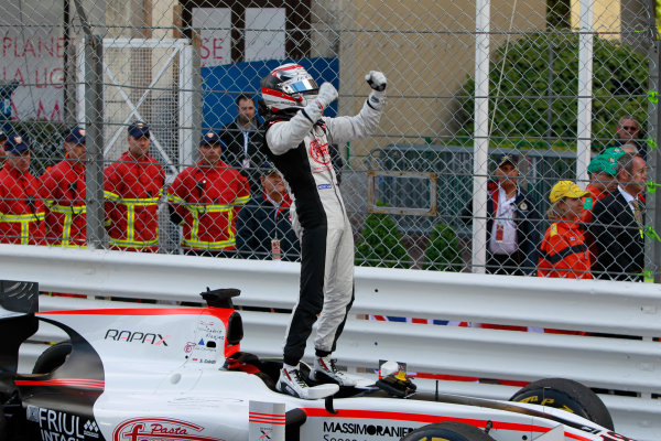 2013 GP2 Series. Round 4.  Monte Carlo, Monaco. 54th May 2013. Saturday Race. Stefano Coletti (MON, Rapax) celebrates his victory. World Copyright: Glenn Dunbar/GP2 Series Media Service. Ref: _G7C0835