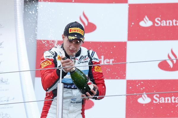 2013 GP3 Series. Round 4.  Nurburgring, Germany.  6th July 2013.  Saturday Race. Facu Regalia (ARG, ART Grand Prix) celebrates his victory on the podium.  World Copyright: Alastair Staley/GP2 Series Media Service. Ref: _R6T7307