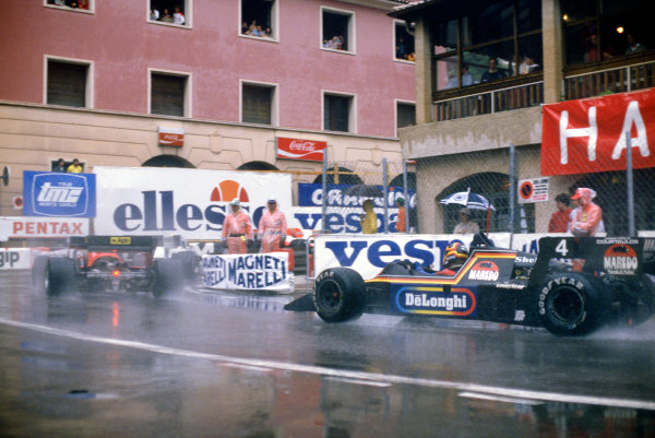 Monte Carlo, Monaco.31/5-3/6 1984.Stefan Bellof, Tyrrell 012-Ford, 3rd position, chases Rene Arnoux and Ayrton Senna. He would lose his position at the end of the season, after the Tyrrell team was disqualified from the World Championship due to fuel irregularities.Ref-84 MON 55.World Copyright - LAT Photographic