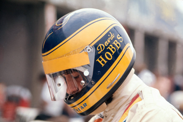 Monza, Italy. 8th September 1974. Rd 13.David Hobbs (McLaren M23-Ford Cosworth), 9th position, in the pits, portrait, helmet.World Copyright: LAT Photographic