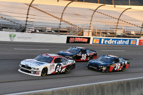 #24: Kaz Grala, JGL Racing, Ford Mustang NETTTS, #38: Jeff Green, RSS Racing, Chevrolet Camaro RSS Racing, and #39: Ryan Sieg, RSS Racing, Chevrolet Camaro RSS Racing