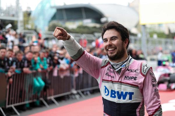 Sergio Perez (MEX) Force India celebrates in parc ferme
