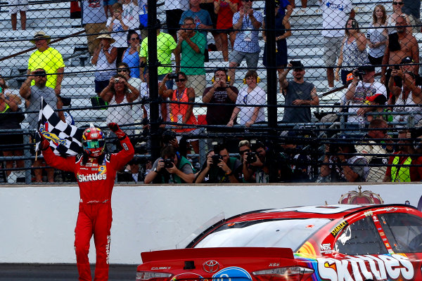 22-24 July, 2016, Indianapolis, Indiana USA Kyle Busch, Skittles Toyota Camry celebrates his win ?2016, Russell LaBounty LAT Photo USA