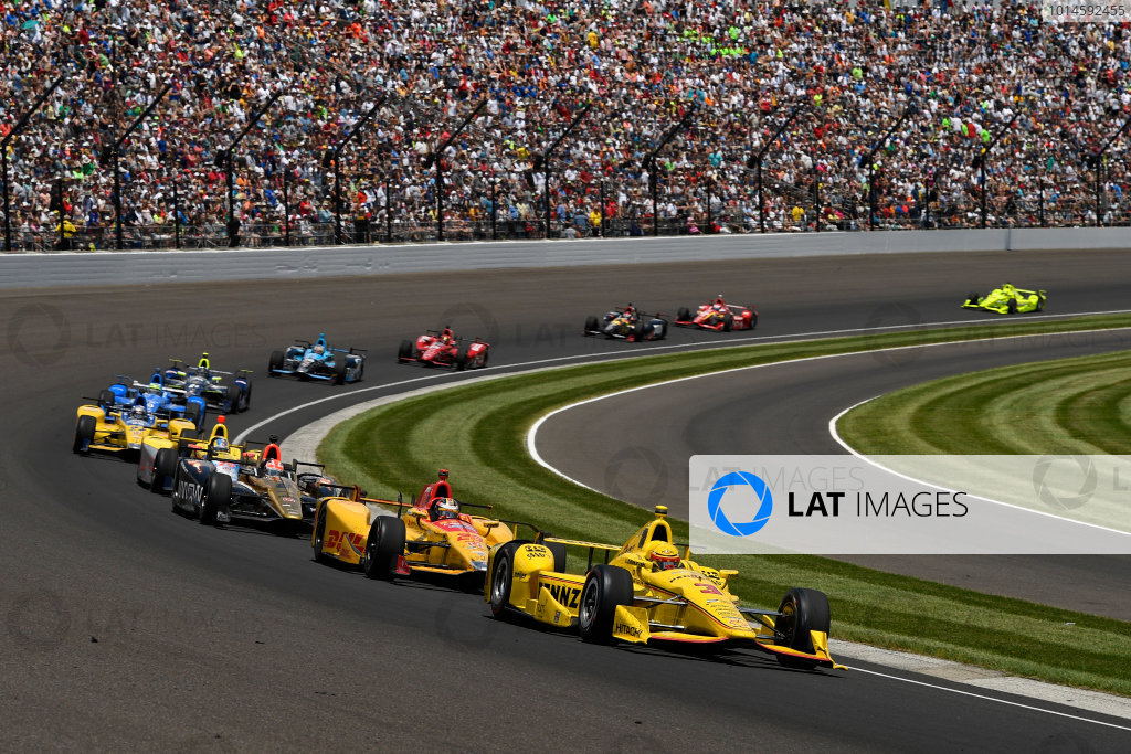 29 May, 2016, Indianapolis, Indiana, USA Helio Castroneves, Ryan Hunter-Reay, James Hinchcliffe ?2016, Scott R LePage  LAT Photo USA