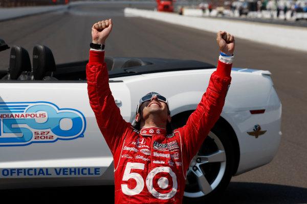 27 May, 2012, Indianapolis, Indiana, USADario Franchitti looks skyward as he celebrates his third Indy victory.(c)2012, Phillip AbbottLAT Photo USA