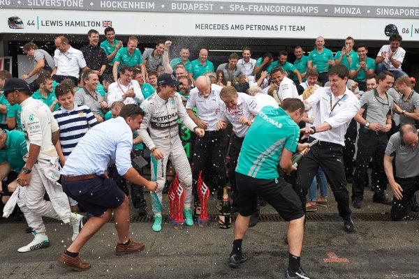 Hockenheimring, Hockenheim, Germany. Sunday 20 July 2014. Nico Rosberg, Mercedes AMG, 1st Position, and the Mercedes team celebrate victory.  World Copyright: Steve Etherington/LAT Photographic. ref: Digital Image SNE27097