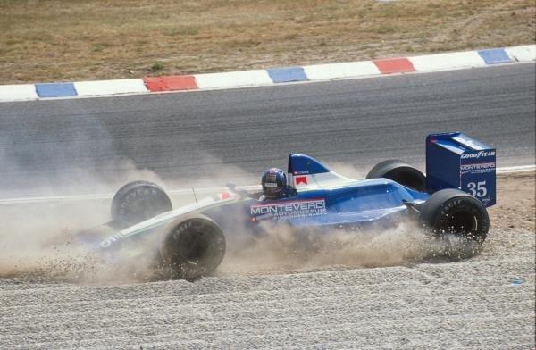 Gregor Foitek spins out in the Monterverdi German GP, Hockenheim, Germany, 29 July 1990