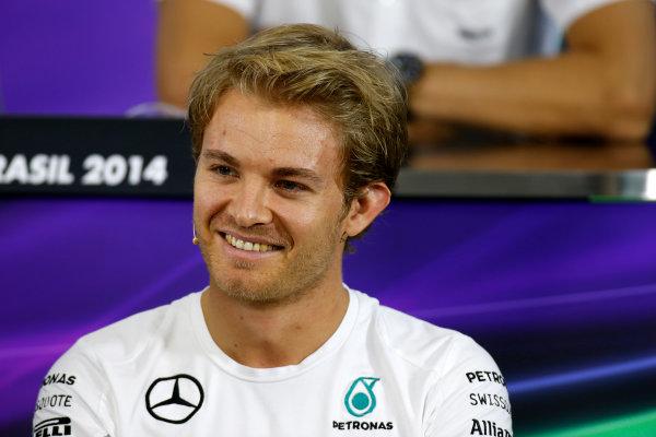 Interlagos, Sao Paulo, Brazil. Thursday 6 November 2014. Nico Rosberg, Mercedes AMG, in the Drivers Press Conference. World Copyright: Glenn Dunbar/LAT Photographic. ref: Digital Image _89P9505