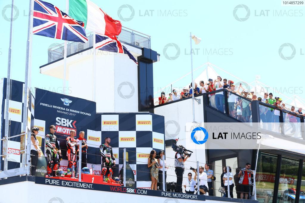 2017 Superbike World Championship - Round 7 Misano, Italy. Sunday 18 June 2017 Podium: Second place Jonathan Rea, Kawasaki Racing World Copyright: Gold and Goose Photography/LAT Images ref: Digital Image WSBK-Post-500-9269 1.20.17 AM