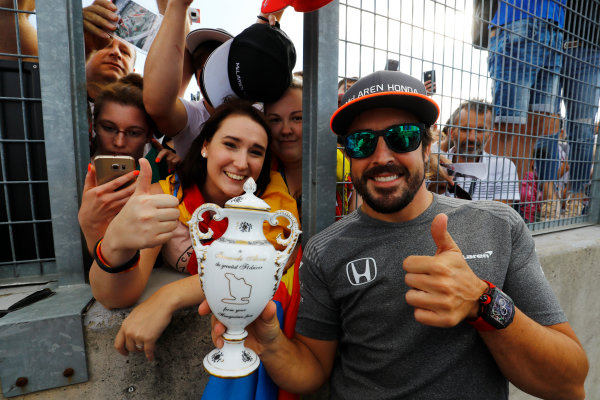 Hungaroring, Budapest, Hungary.  Thursday 27 July 2017. Fernando Alonso, McLaren, receives a gift from his Hungarian fans. World Copyright: Steven Tee/LAT Images  ref: Digital Image _O3I4925