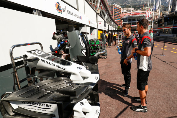 Monte Carlo, Monaco. Wednesday 24 May 2017. Romain Grosjean, Haas VF-17, checks out the new livery on his car. World Copyright: Sam Bloxham/LAT Images ref: Digital Image _J6I9709