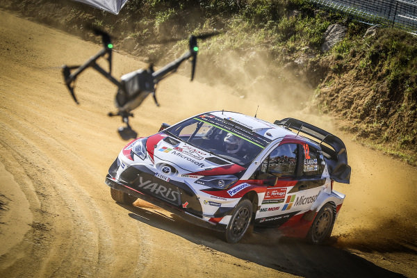 Esapekka Lappi (FIN) / Janne Ferm (FIN) Toyota Gazoo Racing Toyota Yaris WRC and drone at World Rally Championship, Rd6, Rally Portugal, Preparations and Shakedown, Matosinhos, Portugal, 18 May 2017.
