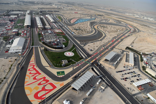 Aerial view at Formula One World Championship, Rd3, Bahrain Grand Prix Qualifying, Bahrain International Circuit, Sakhir, Bahrain, Saturday 15 April 2017. BEST IMAGE