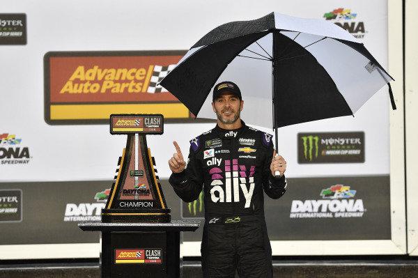 #48: Jimmie Johnson, Hendrick Motorsports, Chevrolet Camaro Ally wins the Advanced Auto Parts Clash