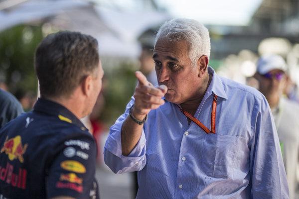 Christian Horner (GBR) Red Bull Racing Team Principal and Lawrence Stroll (CDN) at Formula One World Championship, Rd19, Brazilian Grand Prix, Race, Interlagos, Sao Paulo, Brazil, Sunday 12 November 2017. BEST IMAGE