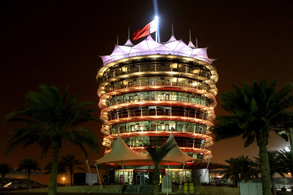Circuit Tower at night. Formula One World Championship, Rd4, Bahrain Grand Prix Practice, Bahrain International Circuit, Sakhir, Bahrain, Friday 20 April 2012. BEST IMAGE