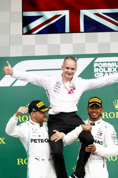 Valtteri Bottas, Mercedes AMG F1 and Rae winner Lewis Hamilton, Mercedes AMG F1 celebrate on the podium