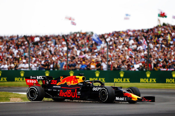Max Verstappen, Red Bull Racing RB15, spins after a crash with Sebastian Vettel, Ferrari SF90