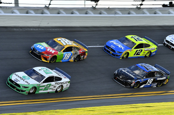 #2: Brad Keselowski, Team Penske, Ford Mustang MoneyLion, #18: Kyle Busch, Joe Gibbs Racing, Toyota Camry M&M's, #18: Kyle Busch, Joe Gibbs Racing, Toyota Camry M&M's. and #12: Ryan Blaney, Team Penske, Ford Mustang Menards / Peak