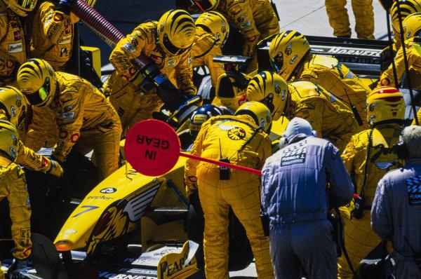 Damon Hill, Jordan 199 Mugen-Honda, makes a pit stop during the race.