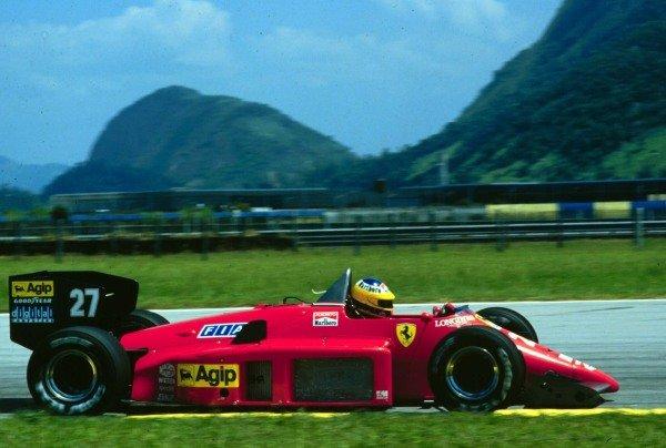 1986 Brazilian Grand Prix.Jacarepagua, Rio de Janeiro, Brazil.21-23 March 1986.Michele Alboreto (Ferrari F186).World Copyright - LAT Photographic
