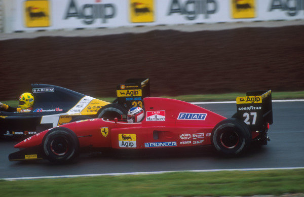 1992 Spanish Grand Prix.Catalunya, Barcelona, Spain.1-3 May 1992.Jean Alesi (Ferrari F92A) 3rd position, laps Christian Fittipaldi (Minardi M191B Lamborghini).Ref-92 ESP 19.World Copyright - LAT Photographic