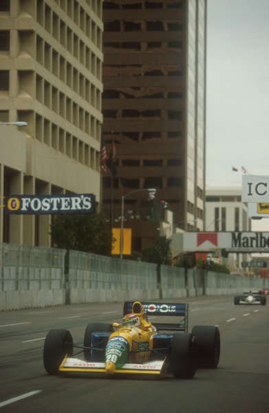 1991 United States Grand Prix.Phoenix, Arizona, U.S A.8-10 March 1991.Nelson Piquet (Benetton B190B Ford) 3rd position.Ref-91 USA 13.World Copyright - LAT Photographic