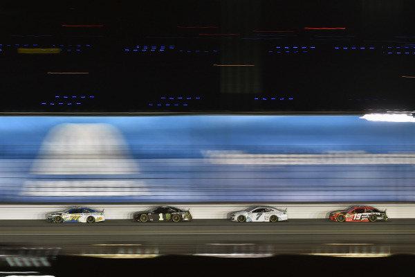 #77: Jamie McMurray, Spire Motorsports, Chevrolet Camaro AdventHealth, #1: Kurt Busch, Chip Ganassi Racing, Chevrolet Camaro Monster Energy and #7: Corey LaJoie, Spire Motorsports, Chevrolet Camaro Youtheory