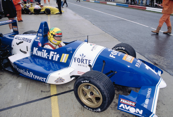 1996 British Formula Three ChampionshipThruxton, England.Ralph Firman (Paul Stewart Racing), and in the background Juan Pablo Montoya, exit the pits.World Copyright: LAT Photographic