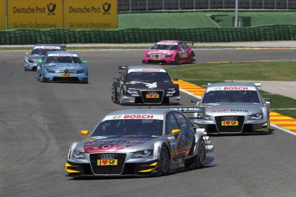 Martin Tomczyk (GER), Audi Sport Team Abt Sportsline, Red Bull Cola Audi A4 DTM (2009) ahead of Miguel Molina (ESP), Audi Sport Rookie Team Abt, Audi Bank A4 DTM (2009) and Markus Winkelhock (GER), Audi Sport Team Rosberg, Playboy Audi A4 DTM (2008).