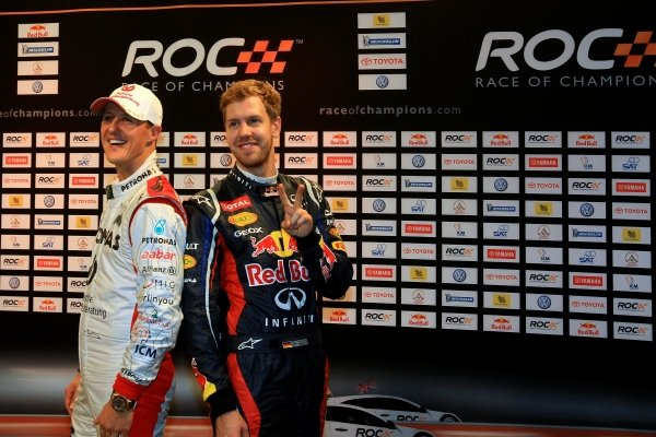 (L to R): Michael Schumacher (GER) and Sebastian Vettel (GER) Red Bull Racing took the sixth consecutive title for Team Germany. Race of Champions, Rajamangala National Stadium, Bangkok, Thailand, 15-16 December 2012.