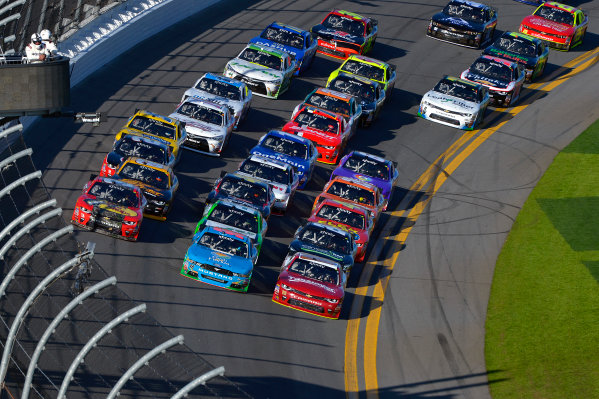19-20 February, 2016, Daytona Beach, Florida USA Ty Dillon, Aric Almirola and eventual winner Chase Elliott lead the field three wide through the tri-oval. ?2016, F. Peirce Williams LAT Photo USA