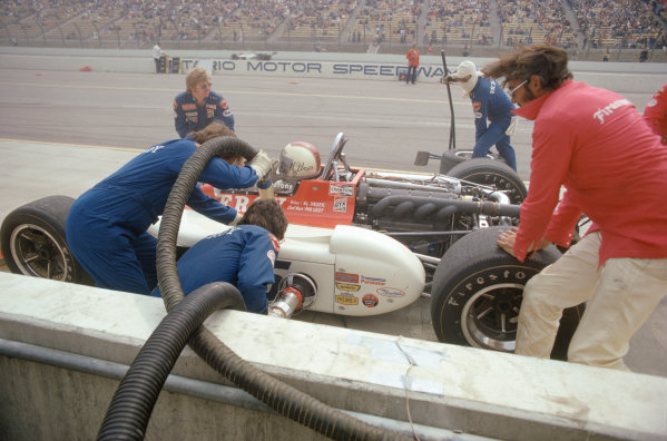 1974 USAC Indycar Series. Ontario, California, USA. 3rd-10th March 1974.Al Unser (Eagle-Offenhauser), 2nd position.World Copyright: Murenbeeld/LAT Photographic