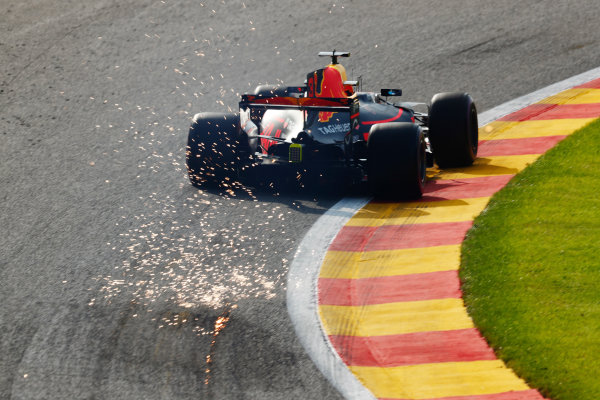 Spa Francorchamps, Belgium.  Friday, 25 August 2017. Max Verstappen, Red Bull Racing RB13 TAG Heuer, strikes up sparks.  World Copyright: Sam Bloxham/LAT Images  ref: Digital Image _W6I8016