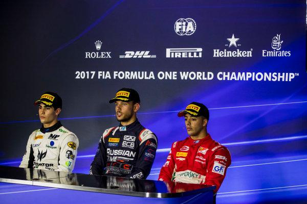 2017 FIA Formula 2 Round 9. Autodromo Nazionale di Monza, Monza, Italy. Sunday 3 September 2017. Sergio Sette Camara (BRA, MP Motorsport), Luca Ghiotto (ITA, RUSSIAN TIME), Antonio Fuoco (ITA, PREMA Racing).  Photo: Zak Mauger/FIA Formula 2. ref: Digital Image _56I9275