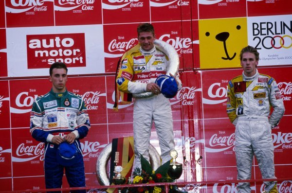 The podium (L to R):  Massimilliano (Max) Angelelli (ITA) second; Jos Verstappen (NED) winner; Michael Krumm (GER) third.