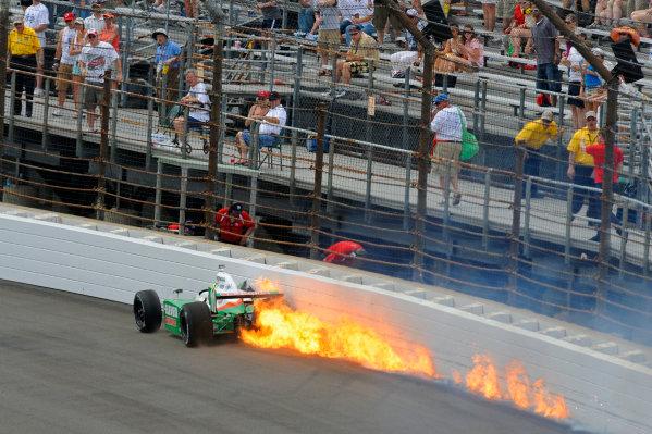 24 May, 2009, Indianapolis, Indiana, USATony Kanaan scrapes along the turn 3 wall after crashing at the entry of the corner.©F. Peirce Williams 2009 USALAT Photography