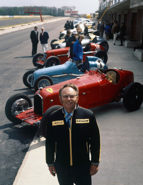 Tom Wheatcroft with a collection of cars from the Donington Museum, portrait. World Copyright: LAT Photographic