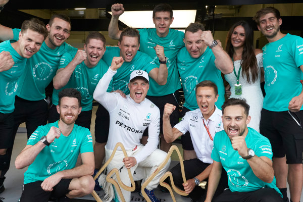 Red Bull Ring, Spielberg, Austria. Sunday 9 July 2017. Valtteri Bottas, Mercedes AMG, 1st Position, celebrates with his team. World Copyright: Steve Etherington/LAT Images ref: Digital Image SNE14784