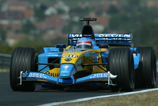 2003 Hungarian Grand Prix - Friday Qaulifying, Budapest, Hungary.22nd August 2003.Fernando Alonso, Renault R23, action.World Copyright LAT Photographic.Digital Image Only.