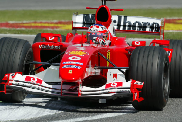 2004 San Marino Grand Prix - Friday Practice,Imola, Italy.23rd April 2004Rubens Barrichello, Ferrari, F2004, action.World Copyright LAT PhotographicDigital image only.
